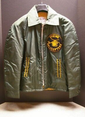 Vintage 1970's Canadian Viking Helicopters Green Yellow Nylon Jacket Size 14 L