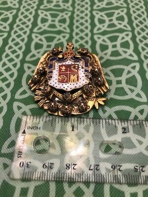 Large Antique French Hearldry Enamel Crown Marcasite? Heavy Pin Brooch FREE SHIP