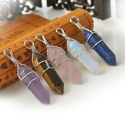 One Natural Crystal Quartz Healing Point Chakra Stone Pendant bead For Necklace