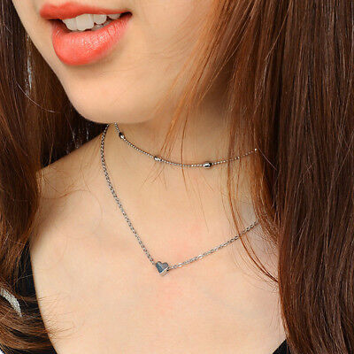 Fashion Simple Double layers chain Heart Pendant Necklace Choker Women Jewelry