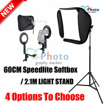 Portable Soft Box Flash Speedlite Softbox Diffuser for Speedlight OR 2.1M Stand