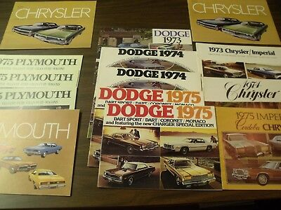 Lot of 14 1972-1975 Chrysler Canada Plymouth Dodge brochures Full-Line Catalogue