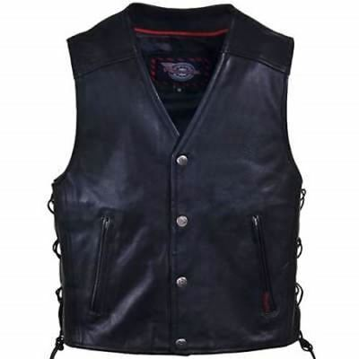 Motorcycle MC Vest 3XL Milwaukee Leather 'Joker' Side-Lace Snap Front MSRP $89