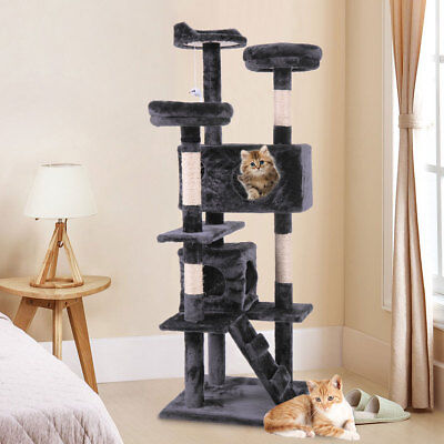 """60"""" Pet Cat Tree Play House Tower Condo Bed Scratch Post Toy Black"""