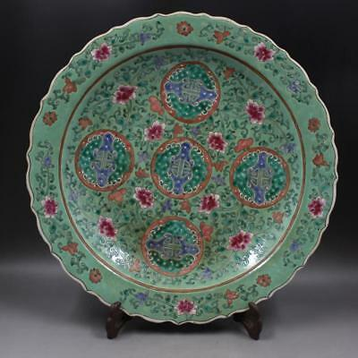 Chinese antique Famille-rose Green Land Fushou Porcelain Big plate