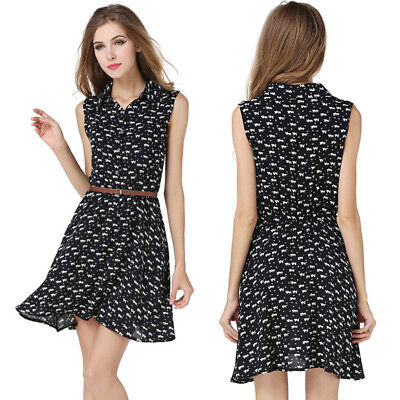 Fashion Summer Womens Dress With Belt Sleeveless Cat Printed Lady Casual Dresses