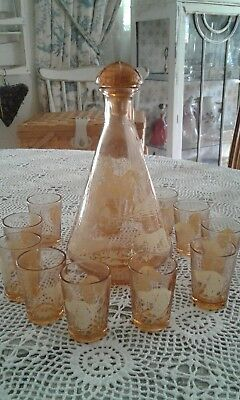 vintage french decanter and glasses