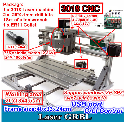 3 Axis DIY Mini 3018 CNC Milling Engraving Laser Machine Wood Router&ER11 Collet