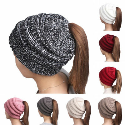 Beanietail Messy High Bun Ponytail Stretchy Knit Beanie Hats Skull Women Hat Hot