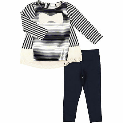 Maggie & Zoe Baby Girl Navy & Cream Striped Cotton Outfit 9 12 18 24 months