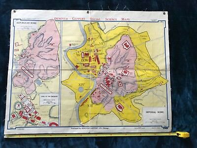 Vintage Geography School Social Science Map Denoyer Geppert Imperial Rome