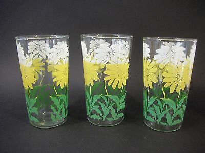 Vintage Swanky Swigs Roses Set of 7 Juice Glasses Yellow White Flowers GUC