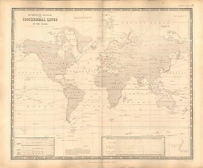 1844 Large Antique Map- Humboldt's System Of Isothermal Lines Of The Globe