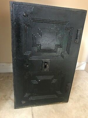 Victorian cast iron safe with intricate key, full working order
