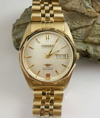 Citizen Automatic Herrenuhr 3N0190 21 jewels Edelstahl vergoldet Vintage