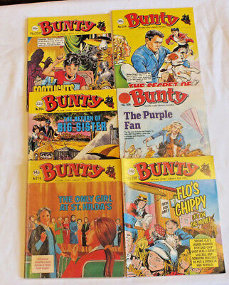6 x BUNTY  PICTURE STORY LIBRARY BOOKS  from 1970's - GIRLS COMICS