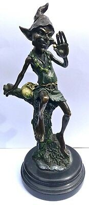 Bronze Figure Statue Of Goblin Pixie Eld Cold Painted Signed Juno On Marble Base
