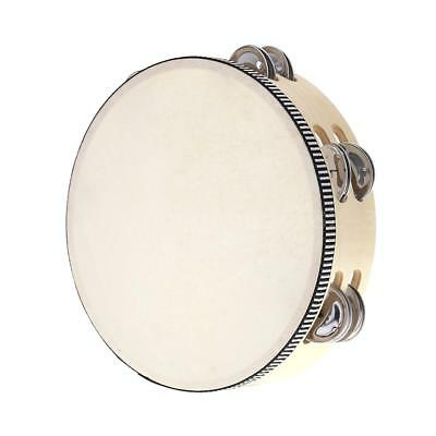 """8"""" Double Row Tambourine Drum Bell Birch Metal Jingles Percussion Musical O6S5"""