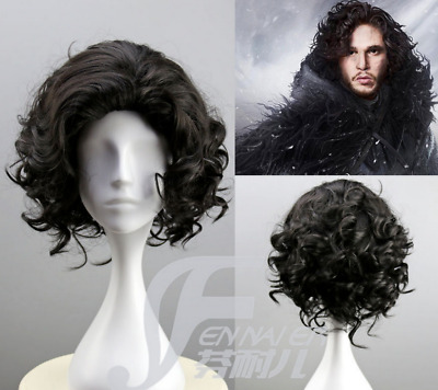 Synthetic Cosplay Anime Game of Thrones Jon Snow Short Black Curly Wig et1