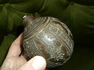 Fine & Rare Antique Georgian Intricately Carved Coconut Box With Screw Top Lid