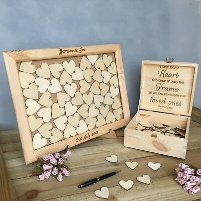 Personalised Solid Pine Wedding Heart Drop Box Frame Guest Book