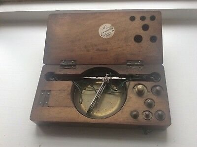 Antique 19th century set of travelling apothecary scales in wooden case