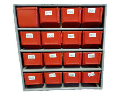 Treston Metal Storage Cabinet With Red Plastic Bins (USED)