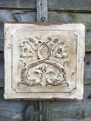Antique Arts And Crafts Oak White Panel Wall Hanging