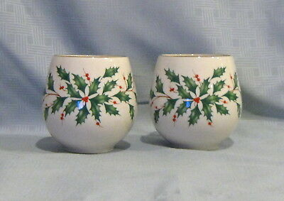 Pair of Lenox Holiday Votive Candle Holders with Candles