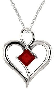 Sterling Silver 0.75 tcw. 5mm Created Ruby Heart Pendant
