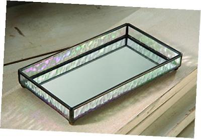 j devlin tra 101 glass jewelry tray with mirrored bottom vanity organizer 9 x 5