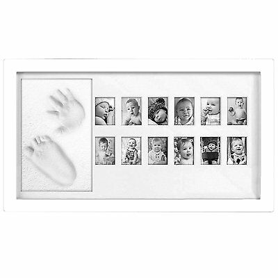 Multi Picture Display For 12 Months WHITE Wood, Baby My First Year Photo Frame