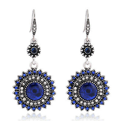 Bohemia Style Women Vintage Jewelry Crystal Tibetan Silver Round Hoop Earrings