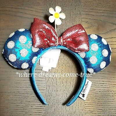 Disney Parks Teal Polka Dot Minnie Ears Sequin Headband Hat with Flower (NEW)