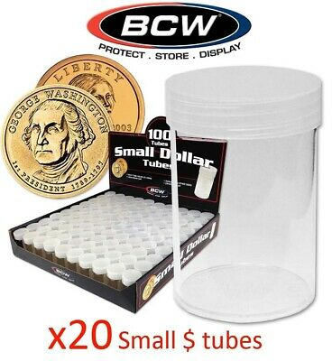 Lot Of 50 BCW Round Large Dollar $ Coin Tubes GEM New High Quality Screw Top Cap