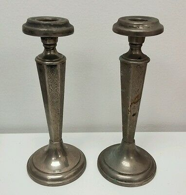 Vintage Antique Marked Moreware Silver Plate Candle Stick Holder Pair Set RARE!