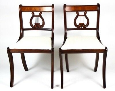 Pair of Antique Sheraton Style Mahogany Dining Chairs - FREE Shipping [PL4426]