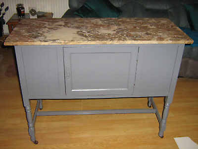 Lovely Old Washstand Cabinet With Solid Marble Top