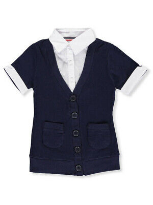 French Toast Little Girls' S/S Blouse/Cardigan Combo Top (Sizes 4 - 6X)