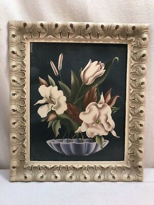 Vtg Picture Air Brush Chic Magnolia Tulip Daffodil Flowers Cottage Cream Frame