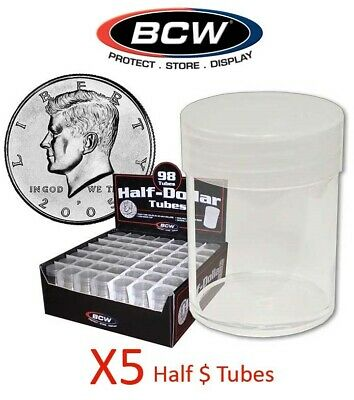 5 Round Half 1/2 Dollar Coin Storage Tubes Clear Plastic Screw Caps BCW 30.6mm