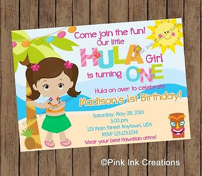 Hula Girl Birthday Invitation Luau Birthday Invitation Printable