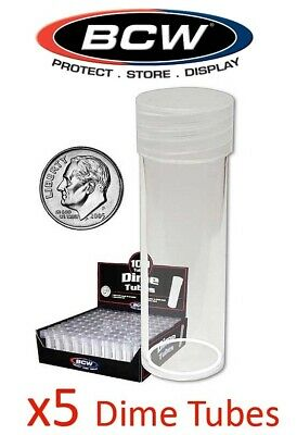 5 BCW Round Dime Coin Storage Tubes 18mm Clear Plastic Screw On Cap New Lot