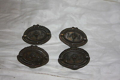 Set 4 Antique Bronze Federal Bail Drawer Pulls Repousse Cascading Floral URN