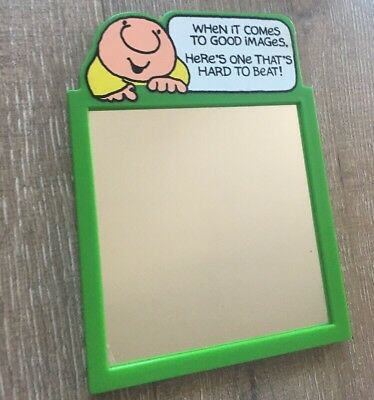 Vintage ZIGGY Comic Character Framed Mirror ORIGINAL Green Frame 6 Inches