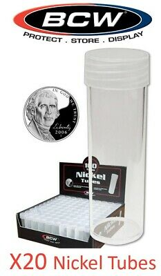 20 BCW Nickel Round Coin Storage Tubes 21mm Clear Plastic Screw On Cap New Lot