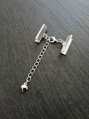 6 sets Silver Plated Crimp Ends/ Crimps for Ribbon, Clasp & Heart Extender Chain