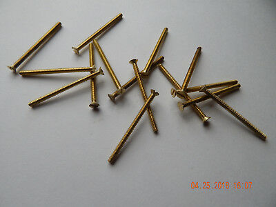 "BRASS FLAT HEAD SLOTTED MACHINE SCREWS. 6/32 x 2""  25 PCS. NEW-NOS SOME TARNISH"
