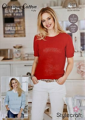 Stylecraft 9371 Knitting Pattern 4Ply- Tee shirt and sweater in Classique Cotton
