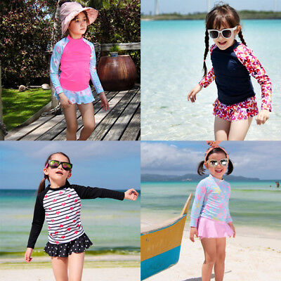 Kid Girls Two Piece Long Sleeve Top + Skirt Swimsuit Rash Guard Surfing Swimwear